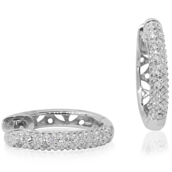9ct White Gold Pave Diamond Set Hoops - Walker & Hall