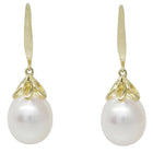 9ct Yellow Gold Petal Drop Pearl Earrings - Walker & Hall