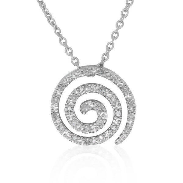 9ct White Gold Diamond Set Koru Necklace - Walker & Hall