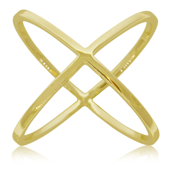 9ct Yellow Gold X Ring - Walker & Hall
