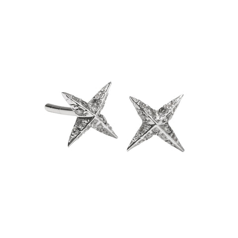 Meadowlark Petite Pave Star Stud Earrings - Grey Diamond - Walker & Hall