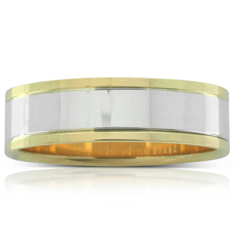 Yellow & White Gold Flat Men's Ring - Walker & Hall