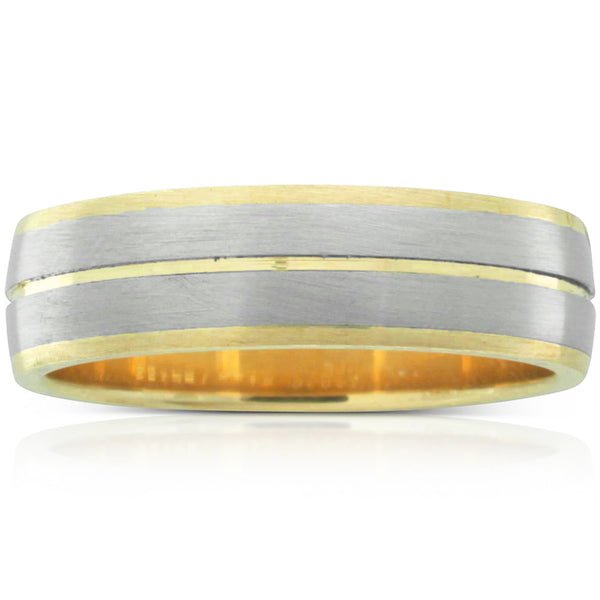 18ct White Gold & 9ct Yellow Gold Brushed Men's Ring - Walker & Hall