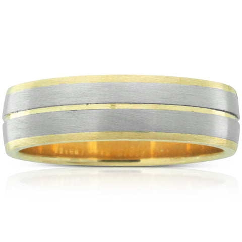 18ct White Gold & 9ct Yellow Gold Brushed Ring - Walker & Hall
