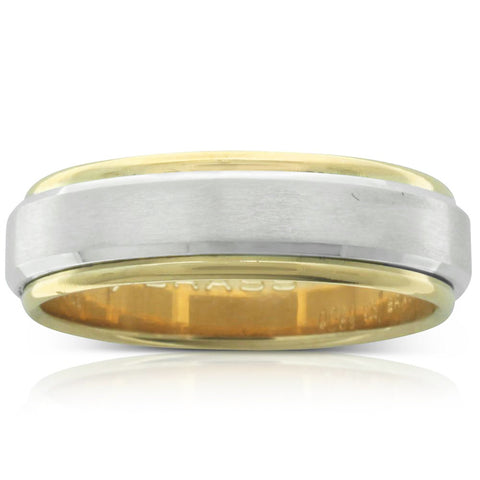 Yellow & White Gold Bevelled Edge Men's Ring - Walker & Hall