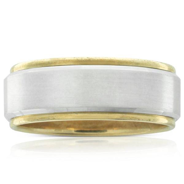 Yellow & White Gold Bevelled Edge Ring - Walker & Hall