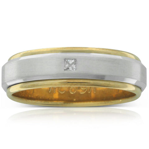 Yellow & White Diamond Men's Ring - Walker & Hall