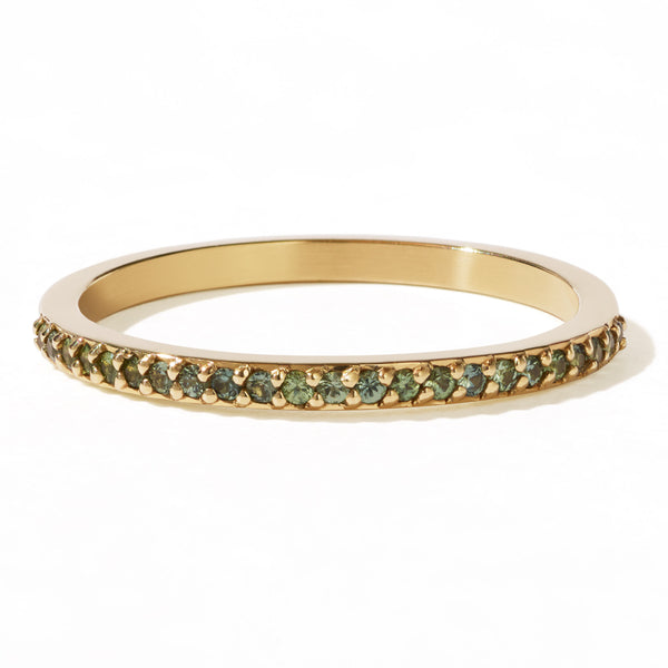 Meadowlark Green Sapphire Eternity Band - 9ct Yellow Gold - Walker & Hall