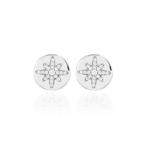Boh Runga Starburst Button Stud Earrings - Sterling Silver & Cubic Zirconia - Walker & Hall