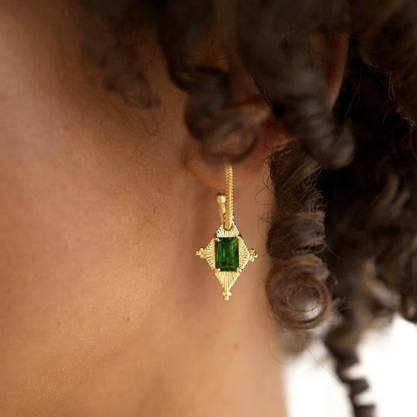 Zoe & Morgan Anastasia Earrings - Gold Plated & Chrome Diopside - Walker & Hall