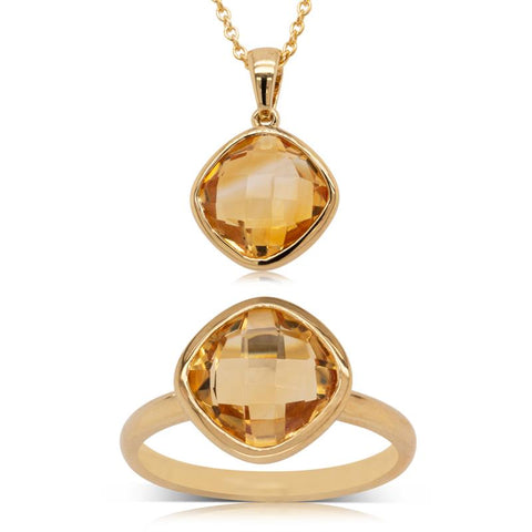 9ct Yellow Gold Citrine Ring & Necklace Set - Walker & Hall