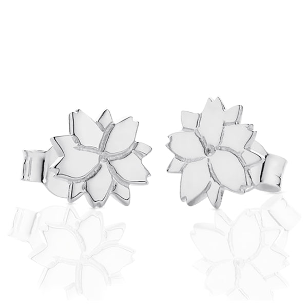 Meadowlark Cherry Blossom Studs - Sterling Silver - Walker & Hall