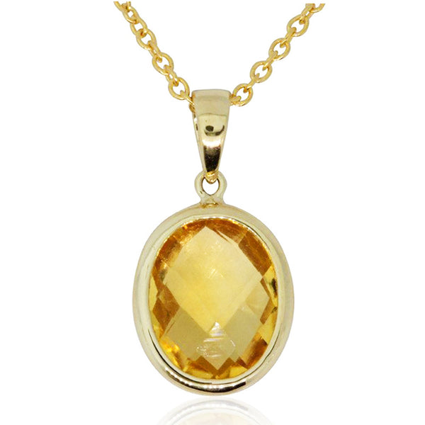 9ct Yellow Gold Citrine Oval Pendant