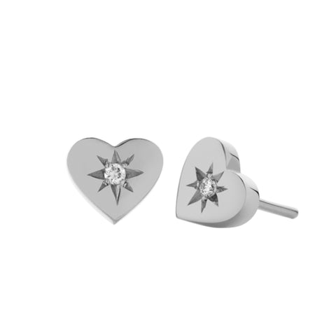 Meadowlark Diamond Heart Stud Earrings - Sterling Silver & White Diamond - Walker & Hall