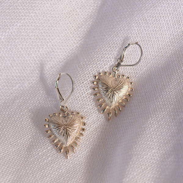 PRE-ORDER Zoe & Morgan Heart Rays Earrings - Sterling Silver - Walker & Hall