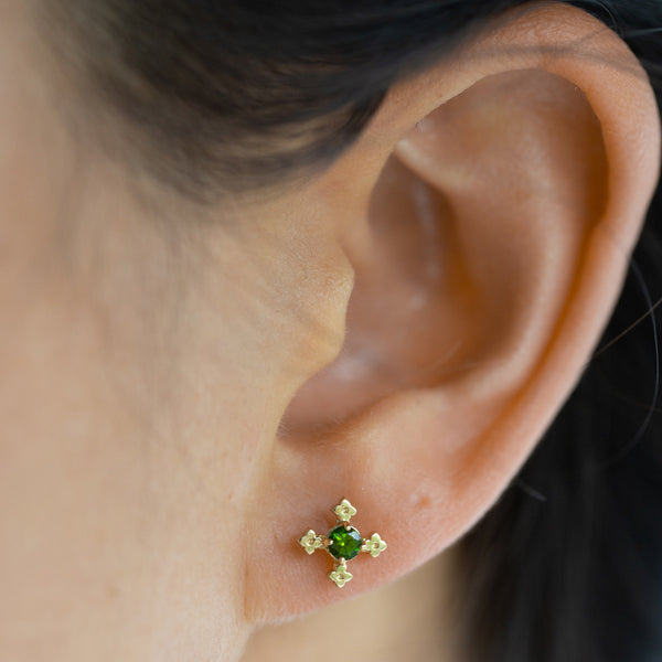 Zoe & Morgan Izil Earrings - Gold Plated & Chrome Diopside - Walker & Hall