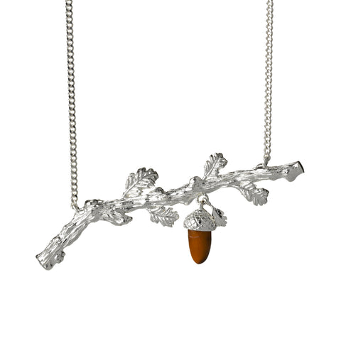 Karen Walker Oak Branch Necklace - Sterling Silver & Tigers Eye - Walker & Hall