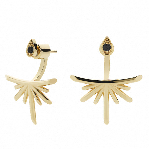 Meadowlark Petal Burst Ear Jackets - 9ct Yellow Gold & Black Diamond