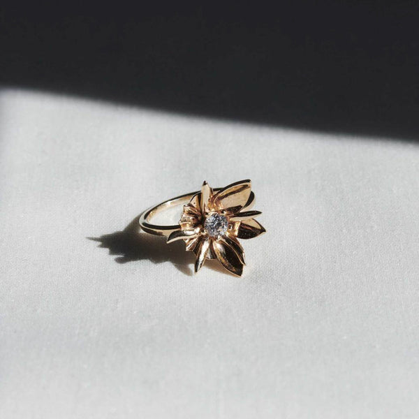 Meadowlark Wildflower White Diamond Ring - 9ct Yellow Gold - Walker & Hall