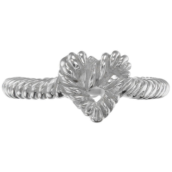 Zoe & Morgan Rope Heart Ring - Sterling Silver