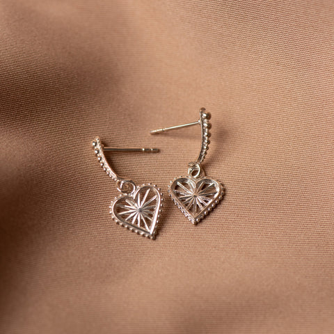 Zoe & Morgan x Walker & Hall Mini Sweet Heart Earrings - Sterling Silver - Walker & Hall