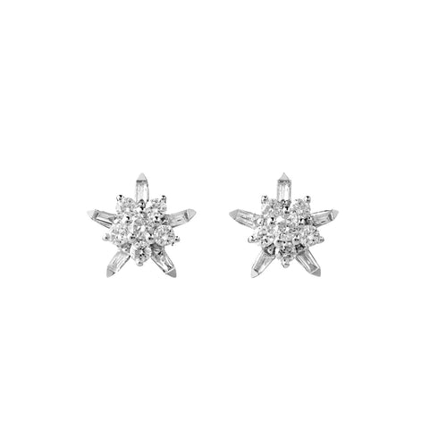 Karen Walker True Love Earrings- 9ct White Gold & White Diamonds - Walker & Hall