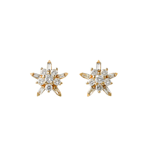 Karen Walker True Love Earrings- 9ct Yellow Gold & White Diamonds - Walker & Hall