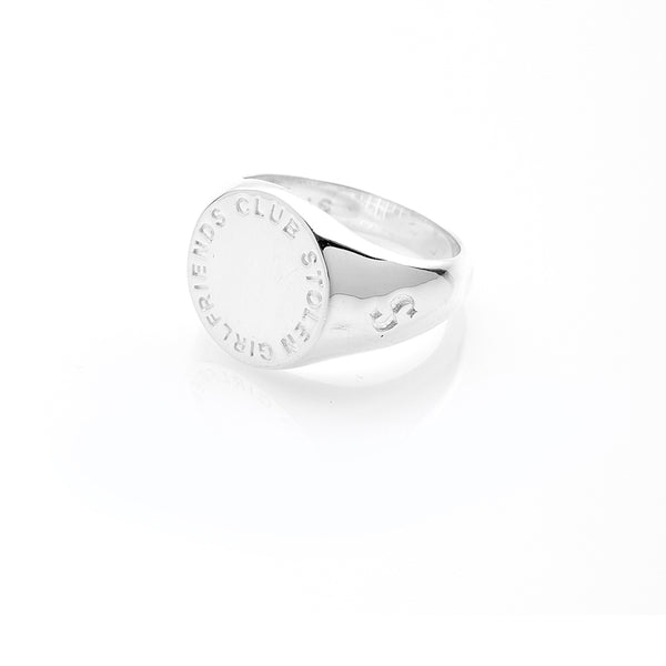 Stolen Girlfriends Club Text Logo Sovereign Ring - Sterling Silver - Walker & Hall