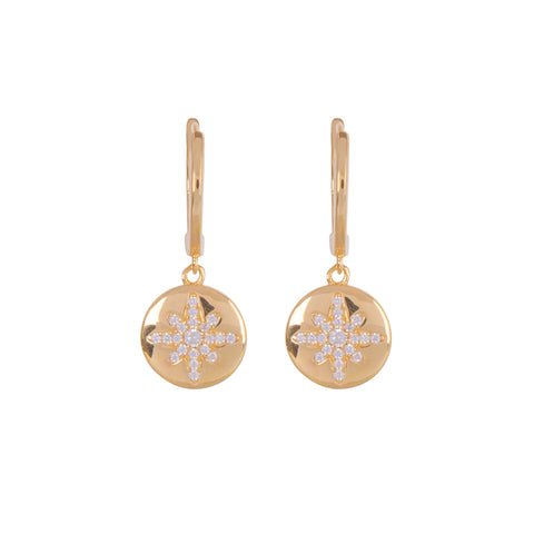 Boh Runga Starburst Button Huggie Earrings - Gold plated & Cubic Zirconia - Walker & Hall
