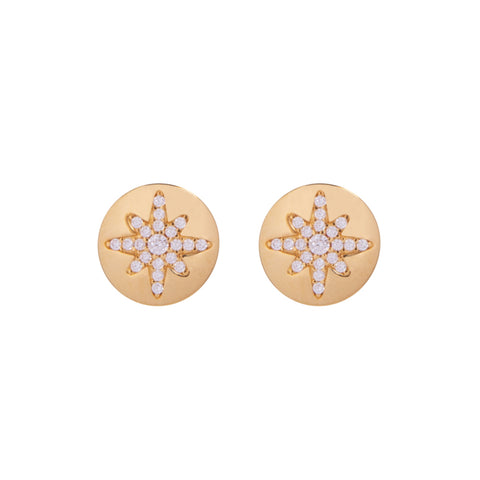 Boh Runga Starburst Button Stud Earrings - Gold Plated & Cubic Zirconia - Walker & Hall