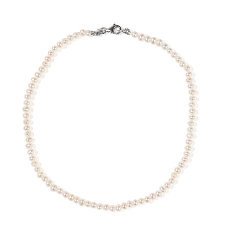 Meadowlark Micro Pearl Anklet - Sterling Silver - Walker & Hall