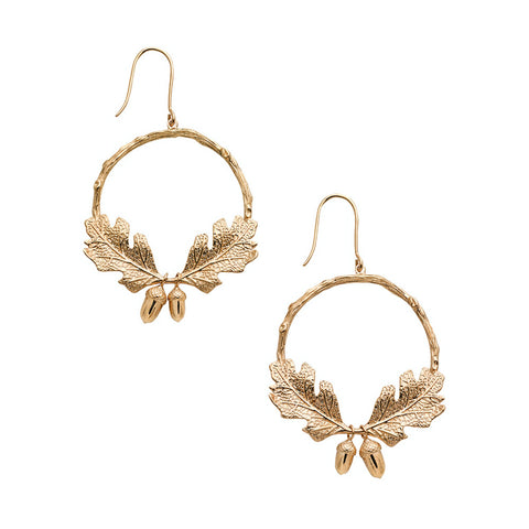 Karen Walker Acorn & Leaf Wreath Earrings - Gold plated - Walker & Hall