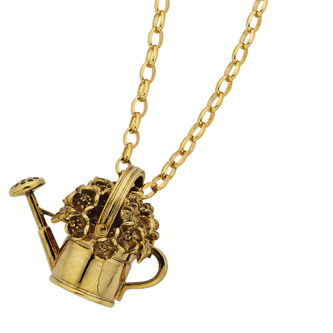 Karen Walker Watering Can With Flowers Necklace - 9ct Yellow Gold - Walker & Hall