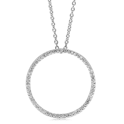 9ct White Gold Diamond Forevermore Circle Pendant - Walker & Hall
