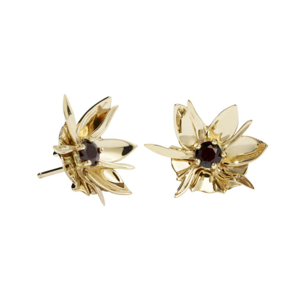 Meadowlark Wildflower Earrings - Gold Plated & Thai Garnet - Walker & Hall