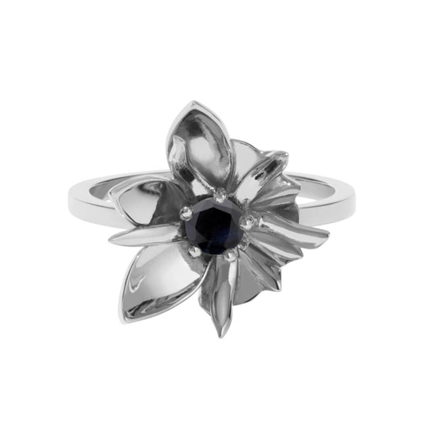 Meadowlark Wildflower Ring - Sterling Silver & Midnight Sapphire - Walker & Hall