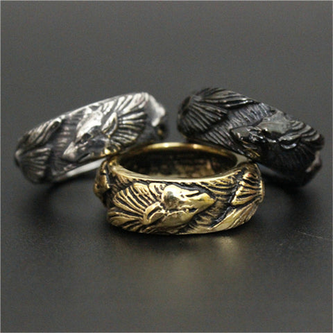 Stainless Steel Wolf Pack Ring