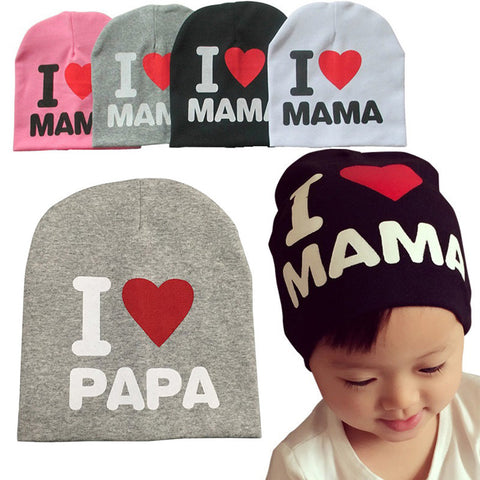 Cute I LOVE MAMA PAPA Baby Cotton Beanie