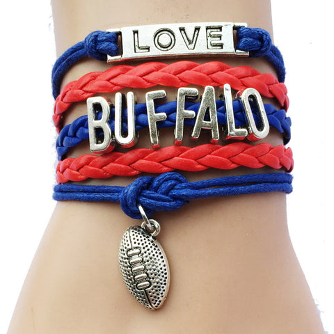 Buffalo Bills Leather Braided Charm Bracelet