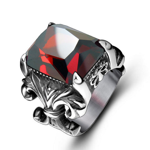 Arched Red Ruby Stainless Steel Ring