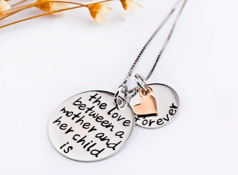 Sterling Silver Three Tone Necklace with Mother Child Love Pendant - EazyShoppa