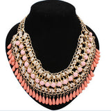 Colorful Vintage Bohemian Choker Necklaces Crystal Gold Chain