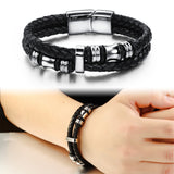 FREE-Black Braided Leather Men's Bracelet