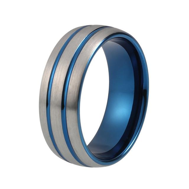 Blue Tungsten Wedding Bands