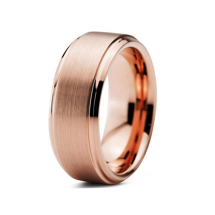 Tungsten Wedding Bands - Beveled & Brushed Rose Gold Tungsten Wedding Band