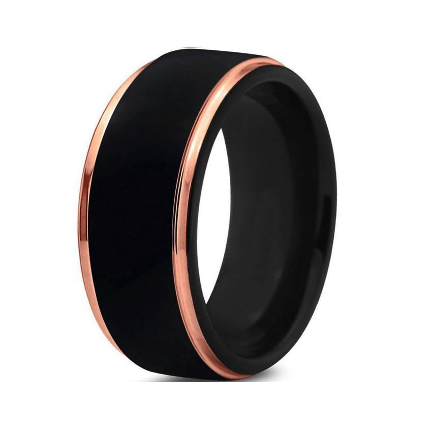 Tungsten Wedding Bands - Black With Beveled Rose Gold Edges Tungsten Wedding Band
