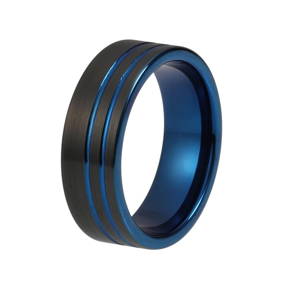 Tungsten Wedding Bands - Blue Striped Tungsten Wedding Band With Black Brushed Finish
