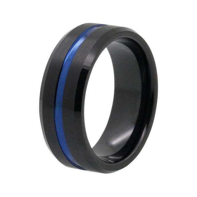 Tungsten Wedding Bands - Blue Tungsten Wedding Band With Black Finish