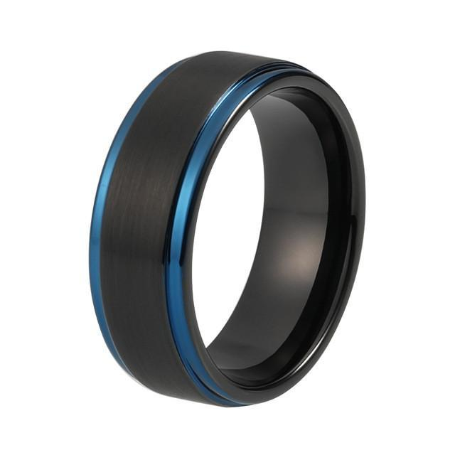 Tungsten Wedding Bands - Blue Tungsten Wedding Band With Black Finish - Brushed/Beveled