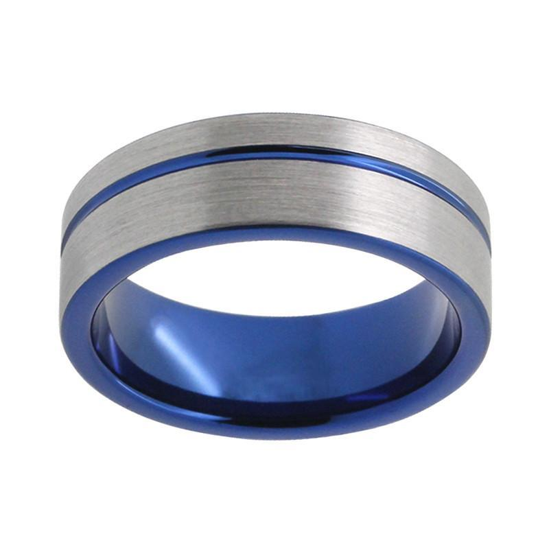 Tungsten Wedding Bands - Blue Tungsten Wedding Band With Gunmetal Finish